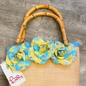 Lilly Pulitzer Straw Bag w/ Bamboo Handles NWT